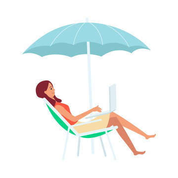 Woman with laptop sitting in lounge chair under umbrella cartoon style