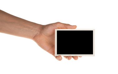 hand holding photo frame isolated on white with clipping path