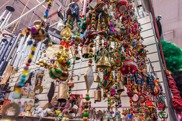 Colorful Beads, Bells, Chimes displayed at Flea Market for Sale