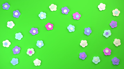 sweet paper flowers cut out of thick paper in shades of purple, pink and blue on a green background, 3d background illustration