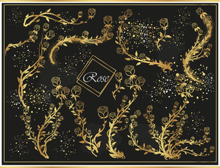Set of golden roses on a black background with sparkles