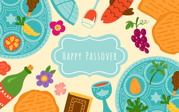 Passover holiday cute banner design with traditional seder plate, matzo and wine.
