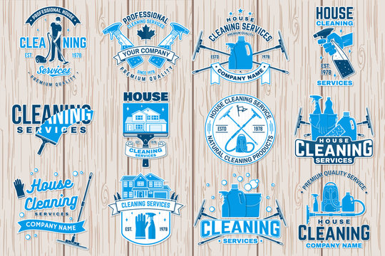 Cleaning company badge, emblem. Vector illustration. Concept for patch, stamp or sticker. Vintage typography design with cleaning equipments. Cleaning service sign for company related business