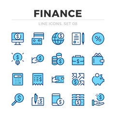 Finance vector line icons set. Thin line design. Outline graphic elements, simple stroke symbols. Financial icons