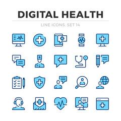 Fototapeta Digital health vector line icons set. Thin line design. Outline graphic elements, simple stroke symbols. Digital health icons obraz