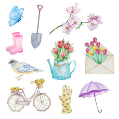 watercolor set spring: bike, tulips, flowers, umbrella, boots, shovel, butterfly