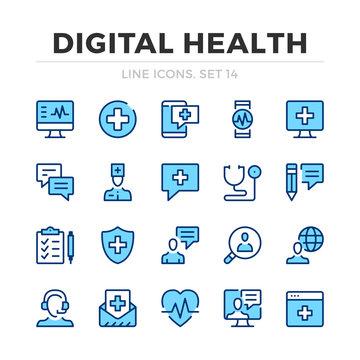 Digital health vector line icons set. Thin line design. Outline graphic elements, simple stroke symbols. Digital health icons