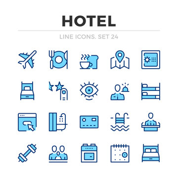 Hotel vector line icons set. Thin line design. Outline graphic elements, simple stroke symbols. Hotel icons