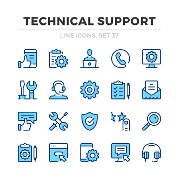 Technical support vector line icons set. Thin line design. Outline graphic elements, simple stroke symbols. Technical support icons