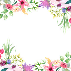 Wedding spring romantic bridal frame wreath. pink purple and white flowers green leaves ornament