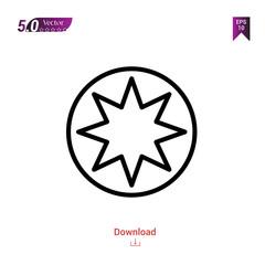 Outline bahai icon isolated on white background. Best modern. Graphic design, mobile application, beauty, user interface. Editable stroke. EPS10 format vector illustration