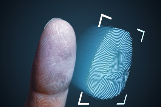 Fingerprint scanning from finger. Technology, security and biometrics concept.