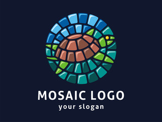 Vector logo template. Sign of the turtle in mosaic style.