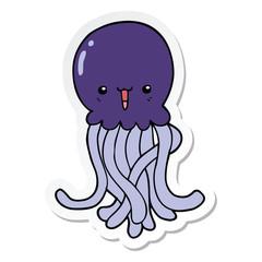 sticker of a cartoon jellyfish