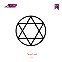 Outline judaism icon isolated on white background. Best modern. Graphic design, mobile application, beauty, user interface. Editable stroke. EPS10 format vector illustration