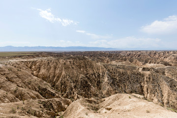 Yellow Zhabyr Canyon in the Nationalpark of Charyn Canyon in the Almaty region of Kazakhstan