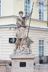 Statue of Adonis at the Market Square in Lviv, Ukraine