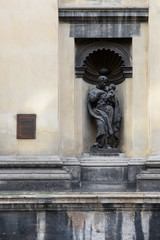 Sculpture on facade of Jesuit Church in Lviv, Ukraine