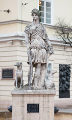 Statue of Diana goddes at the Market Square in Lviv, Ukraine