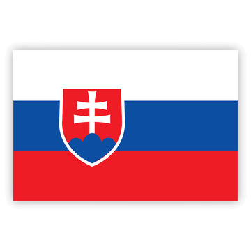 Slovakia flag. Brush painted Slovakia flag. Hand drawn style illustration with a grunge effect and watercolor. Slovakia flag with grunge texture. Vector illustration.