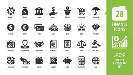 Vector business and finance icon set with money, bank, piggy, credit, exchange, graph, deposit, calculator, web, law, dollar, euro, coin, card, currency, handshake and more isolated silhouette symbol.