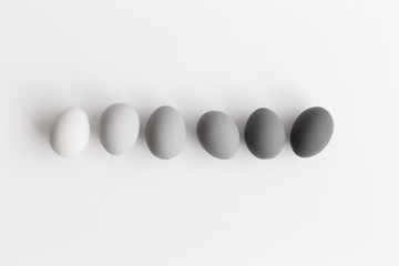 Gray eggs on a white background positioned in line and arranged in gradient color. Minimal easter concept. Flat lay, top view.
