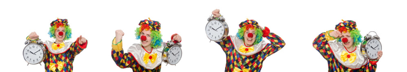 Clown with clock isolated on white