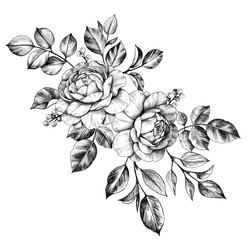 Hand drawn Bunch with Flowers  and Berries