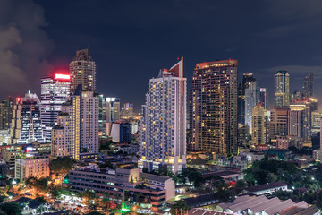 Bangkok business district cityscape with skyscraper at night, Thailand