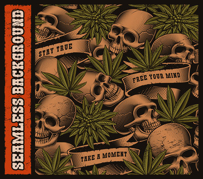 Seamless background of skulls and cannabis leaves