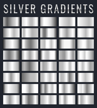 Collection of silver, chrome metallic gradient. Brilliant plates with silver effect. Vector illustration