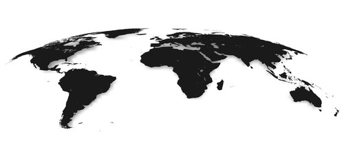 Wall Mural - World Map Isolated on White Background in Gray Color. Vector Illustration