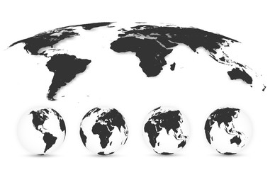 Wall Mural - World Map Isolated on White Background in Gray Color. Earth globe. World map set. Vector Illustration