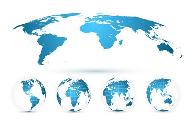Wall Mural - World Map Isolated on White Background in Bright Blue Color. Earth globe. World map set. Vector Illustration