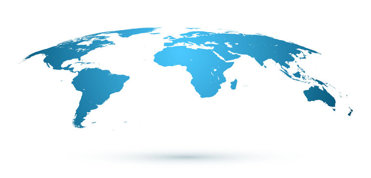 World Map Isolated on White Background in Blue Color. Vector Illustration