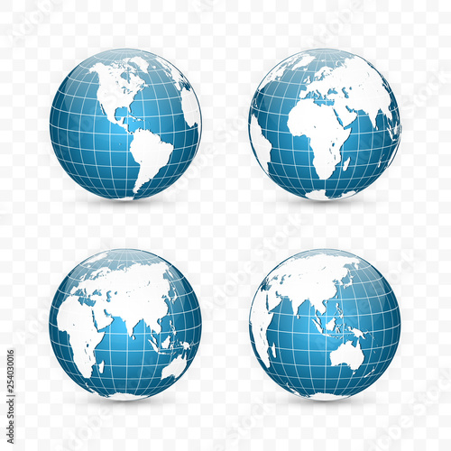Wall mural Earth globe. World map set. Planet with continents. Vector Illustration