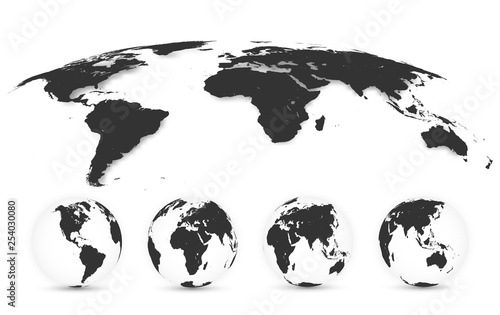 Wall mural World Map Isolated on White Background in Gray Color. Earth globe. World map set. Vector Illustration