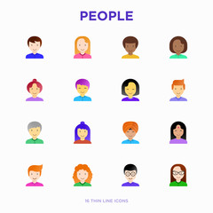 People flat icons set: smiling cartoon male and female heads. Avatars of people with different nationalities: caucasian, asian, african, hindu. Modern vector illustration.