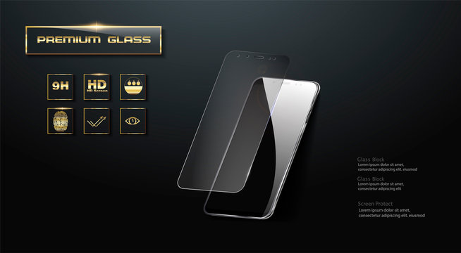 Premium  Screen Protector Glass. Vector illustration of transparent tempered glass shield for mobile phone.
