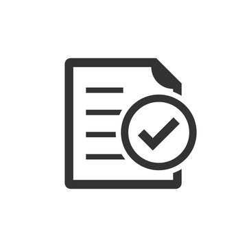 Compliance document icon in flat style. Approved process vector illustration on white isolated background. Checkmark business concept.