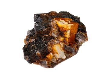 Macro of the mineral stone Columbite, Beryl, Feldspar on a white background