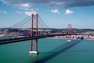 25th of April Bridge over the Tagus river, connecting Almada and Lisbon in Portugal