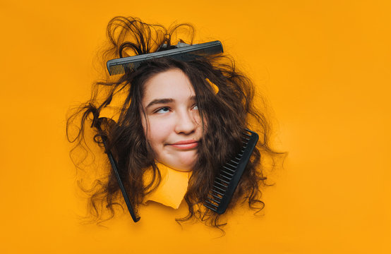 A funny teenage caucasian girl with problematic dry curly hair expresses displeasure on her face. Three combs tangled in hard hair on yellow paper background.