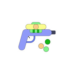 cartoon gun toy colored icon. Signs and symbols can be used for web, logo, mobile app, UI, UX