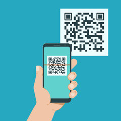 Hand with phone scanning qr code. Flat style icon.