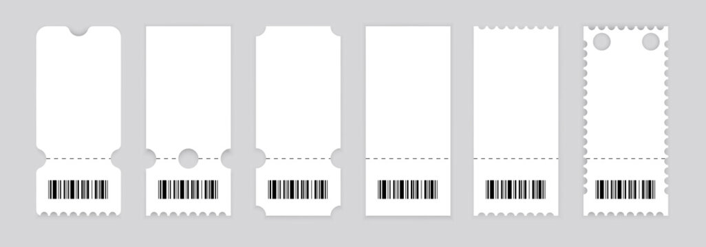 Realistic ticket design. Vector illustration.Symbol Coupon.Set of vintage grunge Collection Tickets. Template. - Vector