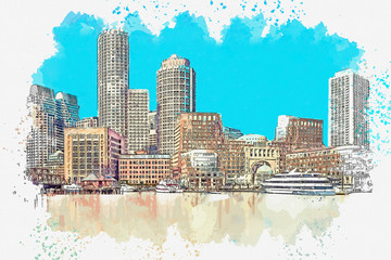 Watercolor sketch or illustration of a beautiful view of the modern architecture of Boston in America. Cityscape or urban skyline