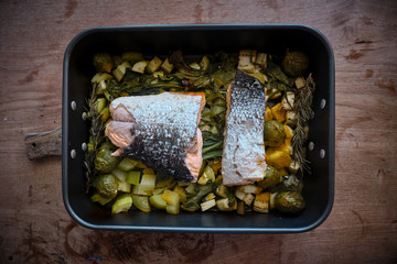 Baked salmon dish with Brussels sprouts and vegetables