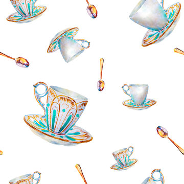 Party colorful tea cups and saucers closeup. Sketch handmade. Postcard for Valentine's Day. Watercolor illustration. Seamless pattern