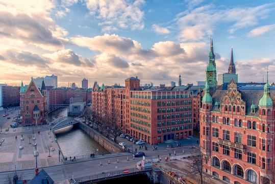 The skyline of Hamburg Germany from the Unesco World Heritage